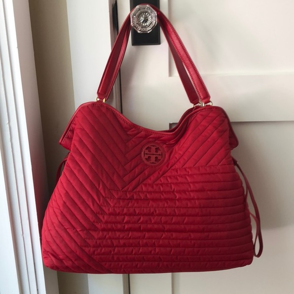 8a0a3c89d83 Red Tory Burch Quilted Nylon Slouchy Tote.